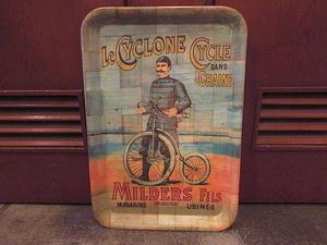 ビンテージ★Le CYCLONE CYCLE SANS CHAINEバンブートレイ★191119s8雑貨インテリアディスプレイお盆竹食器運搬キッチン