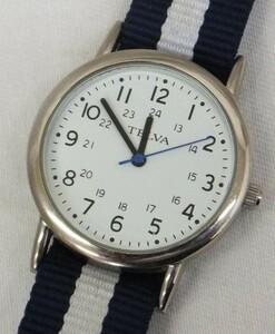 【中古動作品】★TELVA クォーツ 3針クォーツ腕時計 TEV-4408 ナイロンベルト