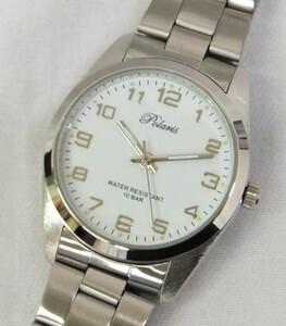 【未使用動作品】★Polaris 10BAR 3針 メンズクォーツ 腕時計 ★白文字盤