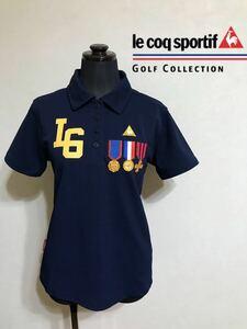 le coq sportif GOLF ルコック ゴルフ ウェア レディース ドライ ポロシャツ トップス サイズLL 半袖 ネイビー デサント QGL2604