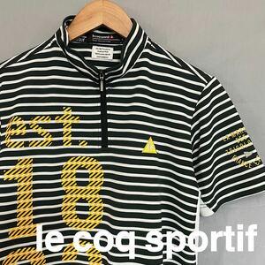 ルコック le coq sportif ルコックスポルティフ ゴルフウェアー メンズ Lサイズ 半袖 ハーフジップシャツ ボーダー