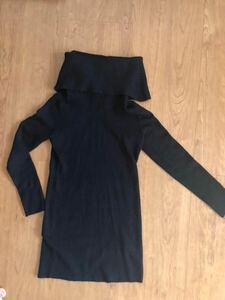 H&M オフタートル ニット ワンピ ブラック size:s 長袖 レディース セーター トップス