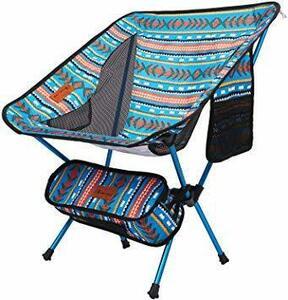 人気商品★ブルー Moon Lence アウトドア チェア キャンプ 椅子 コンパクト 折りたたみ 超軽量 収納バッグ ハイキング 耐荷重
