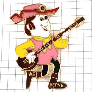 限定レア◆ピンバッジ◆ライオンズクラブLバンジョー楽器カントリー音楽歌手ピンズフランス