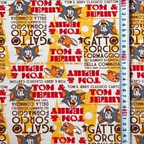 トムとジェリー Tシャツニット 190幅×80 ニット生地 布 はぎれ ハギレ トムジェリー