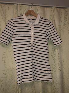 リブボーダーポロシャツ Sサイズ(ユニクロ)