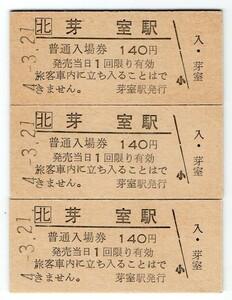 JR芽室駅 B型硬券入場券3枚+JR券アロークーポン3枚