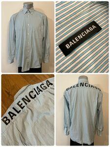 名作 本物 BALENCIAGA バレンシアガ オーバーサイズ ロゴ ストライプ 長袖 シャツ ボタンダウン バックプリント 38