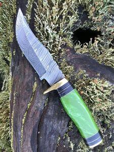 ダマスカス鋼 アウトドア用 ナイフ 硬度55-60HRC 刃渡り10センチ 手のひらサイズ 専用鞘付き ハンドル 黄緑