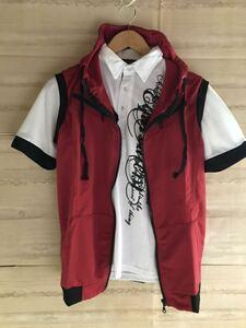 【メンズXXL】【361-5 A】ノースリーブ スエットパーカー 赤