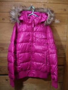 *全国送料無料 ユニクロ UNIQLO 子供服キッズ女の子ピンク色フード脱着可胸ポケット付きダウンジャケットアウター 150