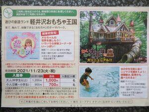 ☆軽井沢おもちゃ王国 割引券 優待券 入園券 フリーパス 有効期限2021年11月23日