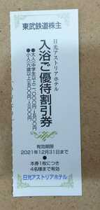 東武鉄道 株主優待券 1枚 日光アストリアホテル 入浴ご優待割引券 有効期限2021年12月31日 4名様まで有効 ポイント消②*