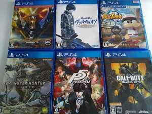 PS4 人気 ソフト 6本セット ペルソナ5 ヴァルキュリア モンハン コールオブデューティ パワプロ アンセム