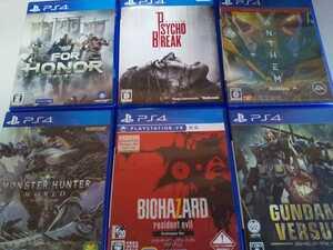 PS4 人気 ソフト 6本セット バイオハザード7 サイコブレイク ガンダム モンハン フォーオナー アンセム