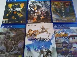 PS4 人気 ソフト 6本セット ホライズン レムナント コールオブデューティ モンハン パワプロ アンセム