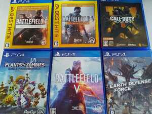 PS4 人気 ソフト 6本セット バトルフィールド1 4 5 アースディフェンス プラント ゾンビ コールオブデューティ