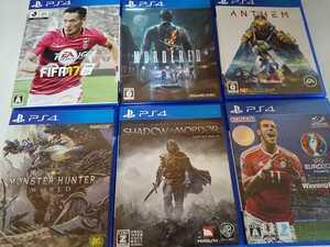 PS4 人気 ソフト 6本セット シャドウ・オブ・モルドール マーダード モンハン ウイイレ FIFA アンセム