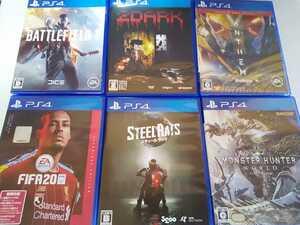 PS4 人気 ソフト 6本セット スティールラッツ FIFA20 2dark モンハン バトルフィールド アンセム