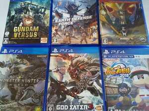 PS4 人気 ソフト 6本セット ゴッドイーター3 アースディフェンスフォース ガンダム モンハン パワプロ アンセム