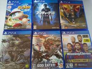 PS4 人気 ソフト 6本セット ゴッドイーター3 アンチャーテッド モンハン ウイイレ パワプロ アンセム