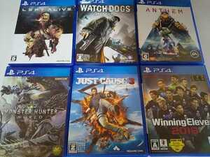 PS4 人気 ソフト 6本セット ウォッチドッグス ジャストコーズ3 レフトアライブ ウイイレ モンハン アンセム