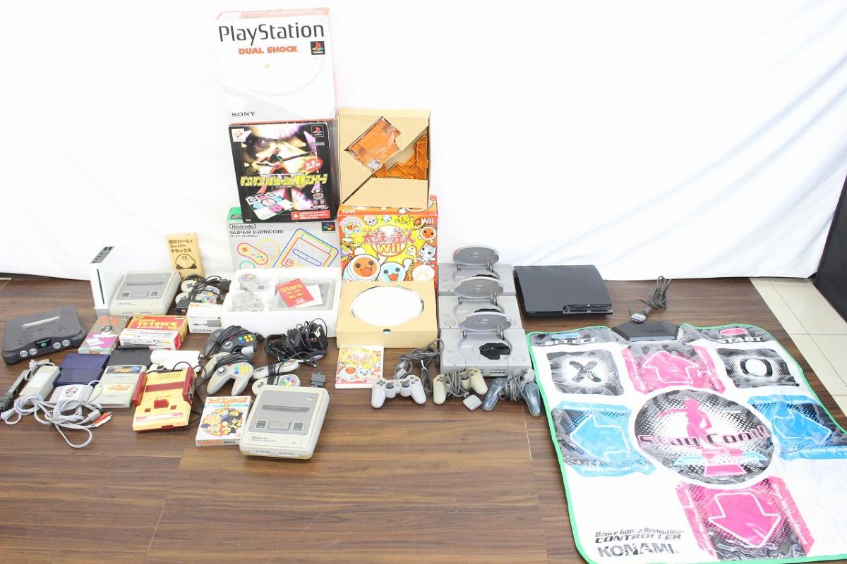 【行董】ゲーム機 ゲームソフトまとめ ファミコン プレステ 任天堂64 Wii PS3 DanceDanceRevolution 太鼓の達人 AC000BOS90