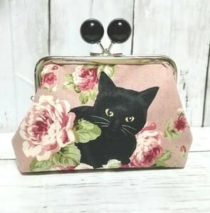 あめ玉 角型 親子がま口 お財布ポーチ 猫 薔薇と黒猫 ピンク