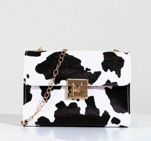 ミニバッグ 海外 チェーンバック ショルダーバッグ 牛柄 モノトーン オシャレ 可愛い ファッション小物 小型ポシェット