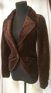 ブラウンベロア  中綿入り 暖かいテーラードジャケット