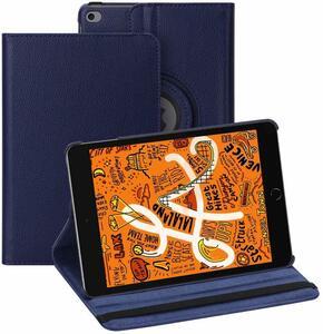 iPad mini5 用 2019年型 ケース (青色) mini4 合革レザー ブルー ミニ4 ミニ5360度回転 スタンド 耐衝撃多角度 アイパッド保護カバー