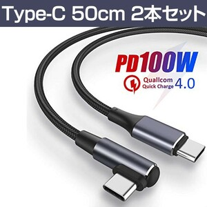 USB Type-Cケーブル PD対応 100W 20V/5A 0.5m 2本セット