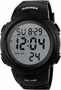 ホワイト BIENNA メンズ腕時計 スポーツウォッチ LEDデジタル腕時計 ストップウォッチ アラーム・夜光機能 50M防水