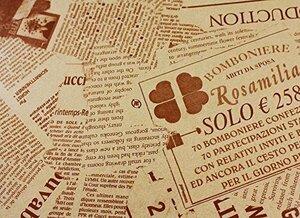 セピア 【フジパック】 英字新聞紙柄 包装紙 ラッピングペーパー 100枚 おしゃれでかわいいデザイン お花/プレゼント/ギフト