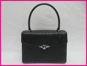 正規品 JRA オーストリッチ ハンドバッグ ブラック黒 レディース鞄 ダチョウ革