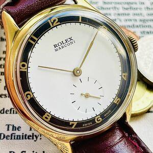 1円出品! ROLEX【稼働品/美品】1940年代 スイス マルコーニ ロレックス MARCONI 手巻き ヴィンテージ メンズ アンティーク アナログ 腕時計