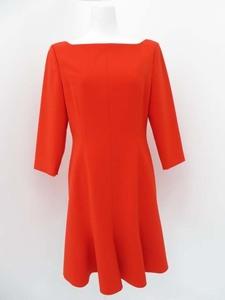 新品同様 FOXEY NEW YORK ワンピース ドレス マリン 39843 レッド SP商品 40 ポリエステル #フレアー AP-83102