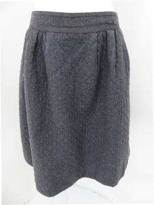 FOXEY BOUTIQUE スカート(ダイヤゴナル)36643 ミディアムグレー 17年増産分 40 ウール ロゴプレート 中古A2 AP-82666