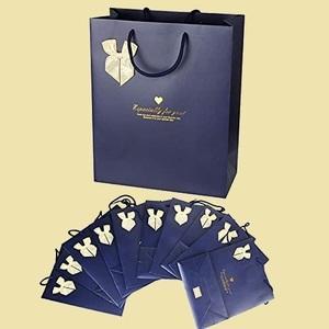 未使用 新品 ギフトバッグ 10枚入 K-3T ネイビ- おしゃれ 手提げ袋 用 ラッピング袋 紙袋 32*26cm クリスマス 誕生日 結婚式 包装