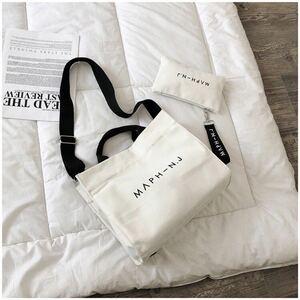 ミニポーチ付き キャンバス トートバッグ ショルダーバッグ 韓国 ホワイト 白