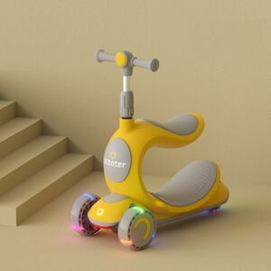 3つの新しい楽しみ方があり、お得■黄色■木馬のように揺れる、キックスクーター、三輪車■ボードライク■ストライダー■へんしんバイク
