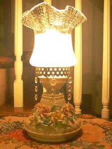 オイルランプ型 陶器製スタンドライト◆繊細で色鮮やかな薔薇の陶花と立体感のあるガラスシェード◆インテリアオブジェ/置物◆W14×H29cm