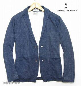 新品 ◆ ユナイテッドアローズ 薄手 リネンニット ジャケット カーディガン M 紺 ネイビー 麻100% テーラードジャケット UNITED ARROWS