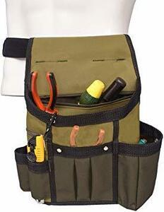 カーキ AGOOL ウエストバッグ 新改良版 腰袋 電工腰袋 釘袋 ベルト付き 職人 作業用 ホルダー付き 工具差し入れ 超頑