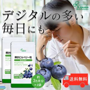 【リプサ公式】 輝きビルベリー粒 約3か月分×2袋 T-622-2 サプリメント サプリ 健康食品 送料無料