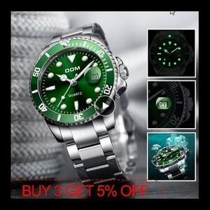 特価!DOM 高級メンズ腕時計 30m防水日付時計 男性スポーツ腕時計 男性用クォーツ腕時計レロジオ