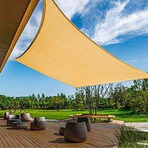 日除けシェード サンシェード クールシェード UVカット 紫外線98%カット 2×3m長方形 軽量 撥水 耐久性 洗濯可(砂色)