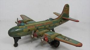 [珍品]USAF BK-3 3025 プロペラ 軍用機 ブリキ フリクション 米軍 飛行機 福田製作所? 戦闘機 日本製 雑貨
