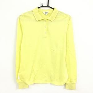 LANVIN SPORT ランバンスポール 長袖ポロシャツ ライトイエロー×白 シンプル 無地 レディース 40[M] ゴルフウェア