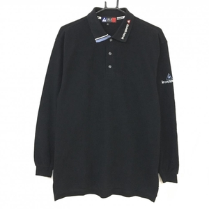 le coq sportif ルコック 長袖ポロシャツ 黒 襟ロゴ刺しゅう メンズ S ゴルフウェア